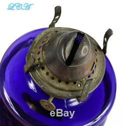 PRISTINE purple ANTIQUE Victorian OIL LAMP hand blown OLD and ORIGINAL # 1 sz