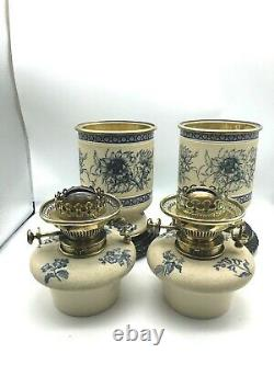 Pair 19th century stoneware oil lamps HInks burners Taylor Tunnicliffe