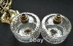 Pair Antique Brass Oil Lamps Gas Light Wall Mounts British Made Gothic Burners