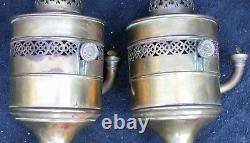 Pair Antique French BEC Oil Hurricane Banquet Lamp Frost Shade MV Burner 25