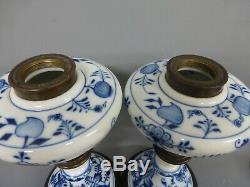 Pair Of Antique Meissen Onion Pattern Oil Lamps
