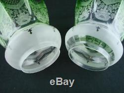 Pair Of Antique Veritas Emerald Green Glass Etched Tulip Oil Lamp Shades 4 Fit