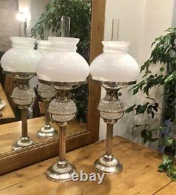 Pair Of Silver Plated Oil Lamp Hukin Heath Drop In Hobnail Font Martins Burner