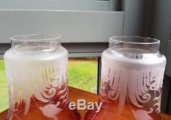 Pair Victorian Wheel Cut crimp Glass Cranberry Gas Oil lamp light fitting Shades