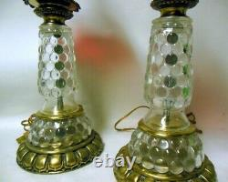 Pair Vintage Ruby RED Clear Glass French Oil Style LAMPS Victorian Empire Style