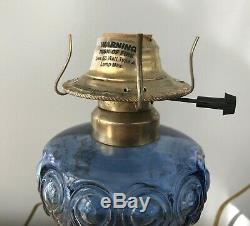 Pair of EAPG 19th Century Cobalt Blue Bulls Eye Oil Lamps Converted to Electric