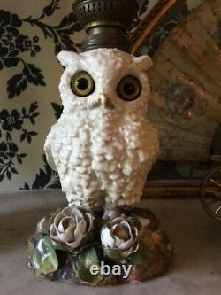 Pair of Superb antique owl oil lamps