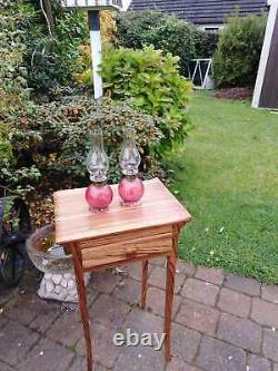 Pair of Victorian Cranberry Cottage Oil Lamps