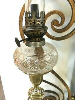 Pair of very heavy brass antique oil lamps peg style hobnail glass founts