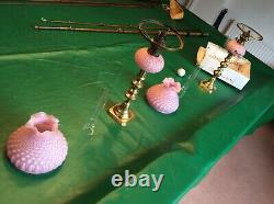 Pair pencil oil lamps pink glass shades for parts see photos c1900 heavy bases
