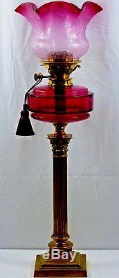 Perfect Victorian Messengers cranberry glass column Oil Lamp with Shade