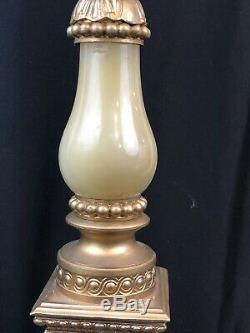 Pink and White Flora Antique Brass and Glass Banquet Oil Lamp GONE WITH THE WIND