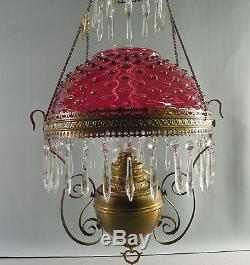 Pittsburg Oil Hanging Lamp Parlor Cranberry Hobnail Glass Shade RARE