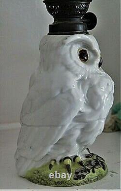 Porcelain Owl Antique Figural Victorian Miniature Oil Lamp Art Glass Shade MINT