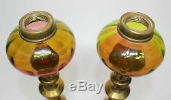 Pr. Victorian Reverse Rubina Verde Peg/candlestick Oil Lamps