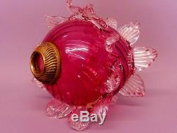 Pretty Original Victorian Cranberry Oil Lamp