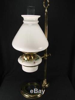 Pretty Rise And Fall 19th C Oil Lamp, White Ceramic Font & Shade, Duplex Burner