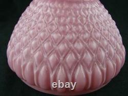 Pretty Victorian Veritas Diamond Moulded Pink Glass Peg Oil Lamp Shade