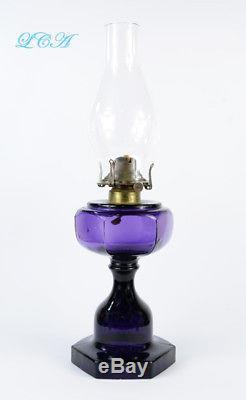 Pristine Purple ANTIQUE Victorian OIL LAMP hand blown exquisite design- ORIGINAL