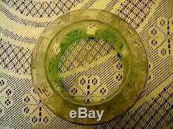 Quality Late Victorian Emerald Green/clear Etch Duplex Oil Lamp Shade