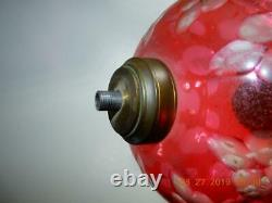 RARE Antique Sandwich Glass oil Lamp Cranberry cut to clear Marble base 14 h