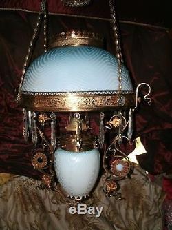 RARE! Herringbone hanging oil lamp blue mother pearl jewels dragons Victorian