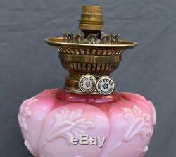 RARE Original VICTORIAN Embossed Relief Pink Glass Oil Lamp Base Column and Font