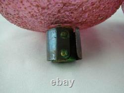 RARE PAIR MID 19th CENTURY PEG OIL LAMP FONTS, CRANBERRY CRACKLE GLASS, HARRACH