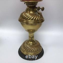 RARE Rippingilles Albion Oil Lamp No. 3 Duplex Burner With Repro Cranberry Shade