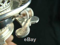 RARE VICTORIAN SILVER PLATED HINKS No 1 DUPLEX OIL LAMP BURNER WHITE ENAMEL KNOB
