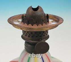 RARE Victorian Style Ribbon Latticino Glass Miniature Oil Lamp Murano Venetian