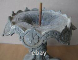 RARE pedestal LAMP IDEN DIETZ kerosene FIGURAL oil 2 PEICE lighting VICTORIAN