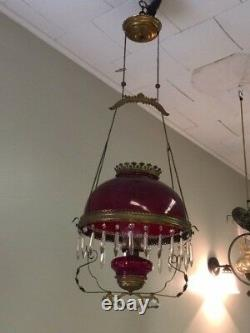 REDUCED! Antique Brass and Cranberry Glass Hanging Oil Lamp Chandelier