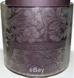 Rare Aesthetic Etruscan Victorian Gas Oil Lamp Shade Floral Insects Birds 4-3/4