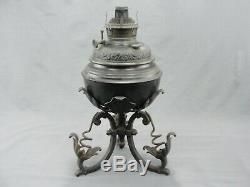 Rare Antique Bradley & Hubbard B&H Wrought Iron Oil Lamp With Burner 1896