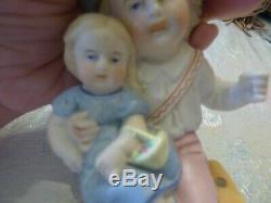 Rare Antique OIL Lamp Pull Bisque Porcelain Figure Boy/Girl Swinger 19th C EUC