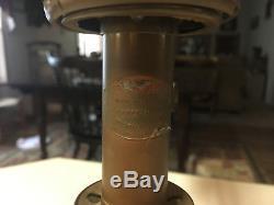 Rare Antique Original 1863 Kleeman Student Brass Oil Lamp With A Milkglass Shade