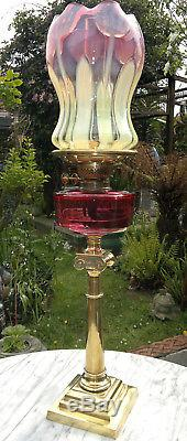 Rare Antique Victorian Art Nouveau Vaseline & Cranberry Glass Oil Lamp Art Glass