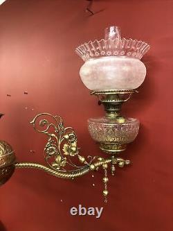 Rare Antique restored Victorian 3 Arm Pull Down Hanging Kerosene Oil Chandelier