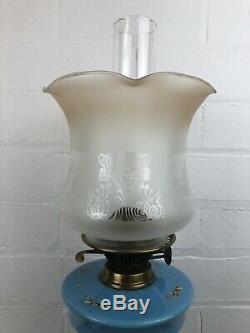 Rare Beautiful Bohemian Blue Opline Enamel Bird Drop In Container Oil Lamp