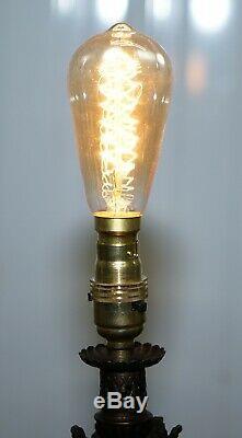 Rare Circa 1860 Bronzed Cherub Putti Angel Oil Lamp Converted Into Table Lamp