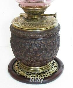 Rare Large Antique Lampe Belge Japonisme Carved Wood & Brass Oil Lamp & Shade