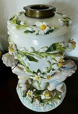 Rare Model Sitzendorf Porcelain Cherub Oil Lamp