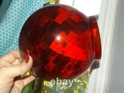 Rare RUBY RED Glass SWIRL Globes GWTW used in Pull Down lanterns VICTORIAN