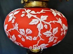 Rare Victorian Cameo Glass Oil Lamp / Butterflies Webb Stevens & Williams