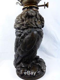Rare Victorian Owl Oil Lamp By Craighead & Kintz