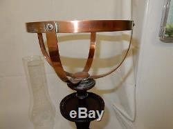 Rare Vintage Aladdin Copper Oil Lamp on Mahogany Base