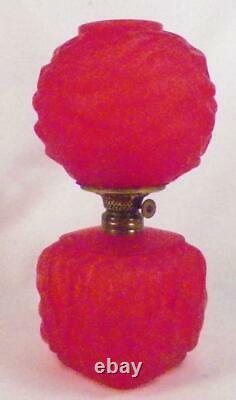 Red Satin Glass Miniature Lamp Oil Kerosene Drape Pattern Antique Nutmeg Burner