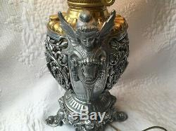 Rochester Oil Lamp Converted to Electric Figurial Cherub Valkyrie Base