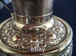 Rochester brass oil lamp 37in banquet style electrified w ruby red optic globe